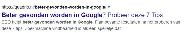 Voorbeeld Google artikel